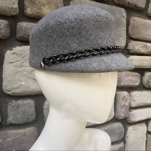 Grey Wool Cap With Metal Accents by Tarnish EUC
